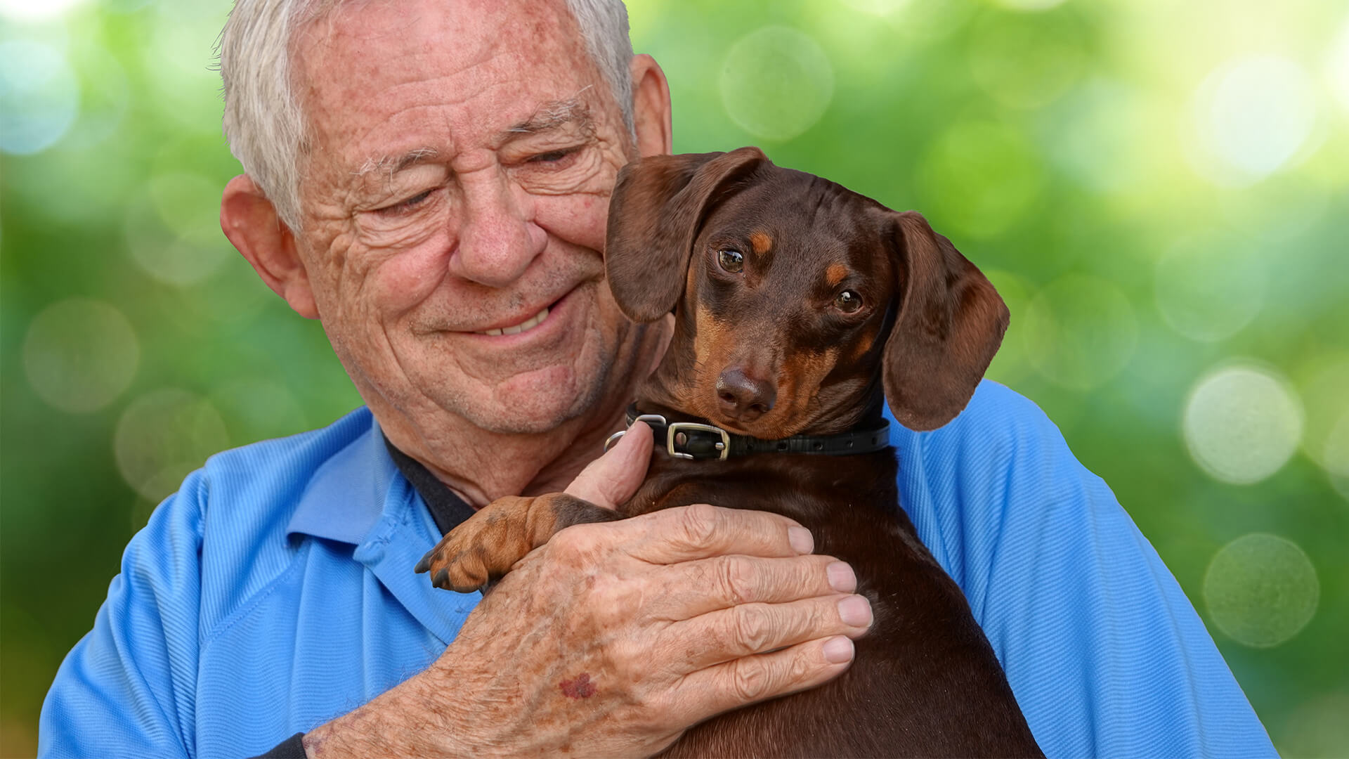 Elderly man and dog