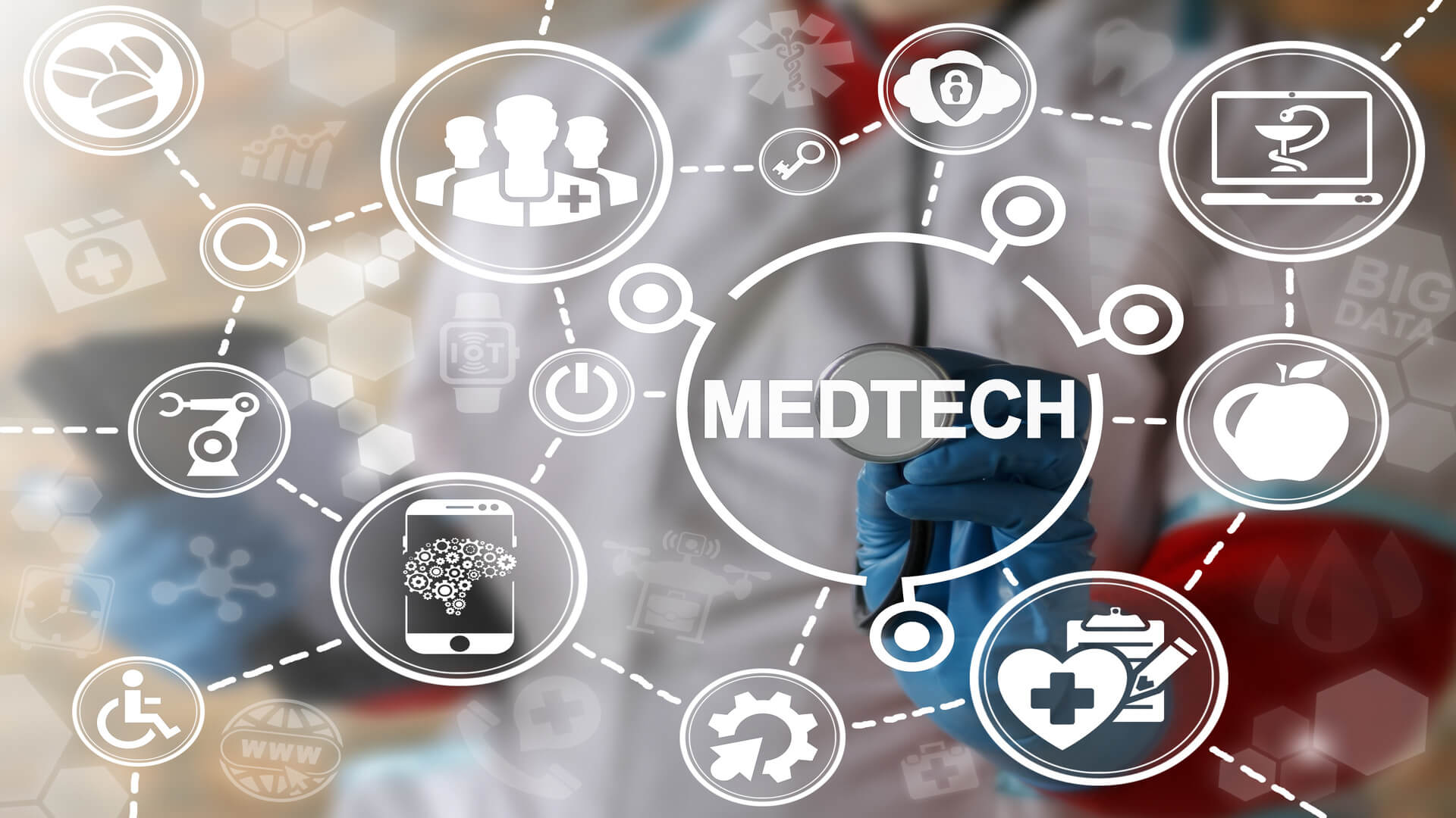 Medicine technology integration automation computing health care concept. Medtech, healthy modernization, medical engineering and healthcare development