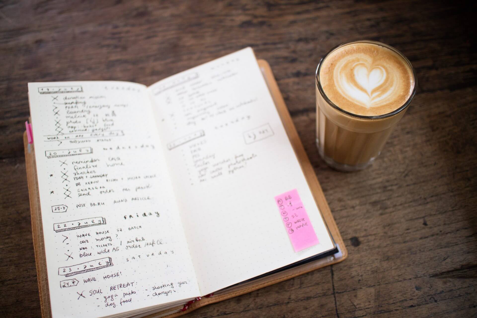 Open bullet journal on a wooden table with a coffee next to it