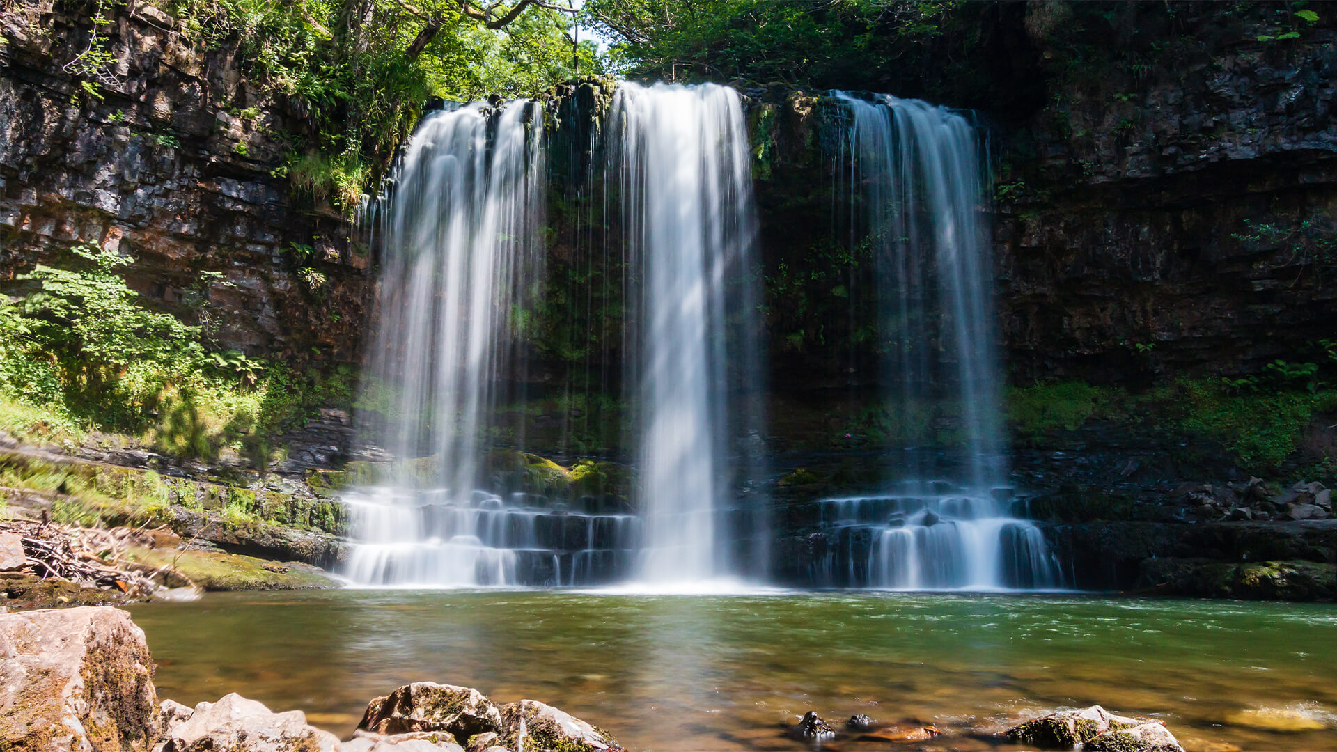 Sgwd Yr Eira Waterfall in Brecon Beacons national park, Wales